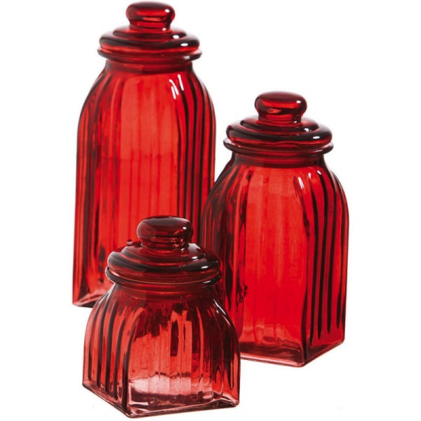 Red Glass Canister Sets Kitchen