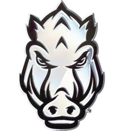 arkansas razorbacks sped hog face sd76299 metal chrome auto emblem university of [ 1600 x 961 Pixel ]