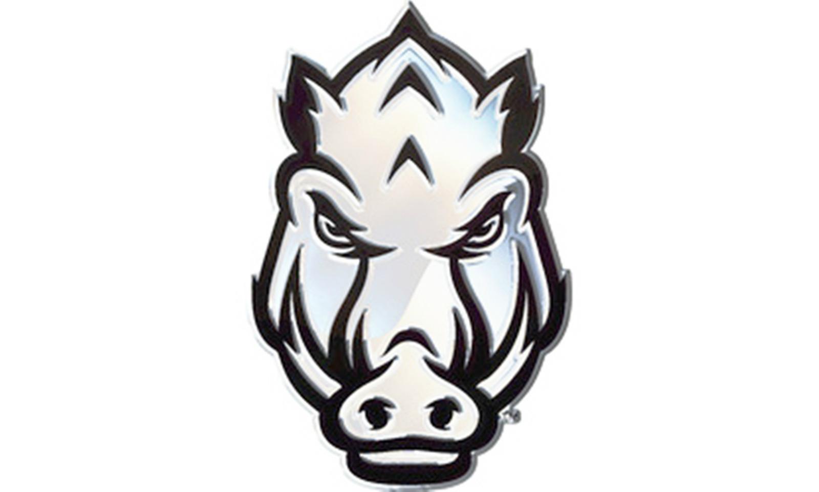 hight resolution of arkansas razorbacks sped hog face sd76299 metal chrome auto emblem university of