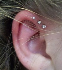 "16G 1/4"" Triple Forward Helix Stud Earring Cartilage 2-4mm ..."