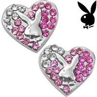 Playboy Earrings Bunny Heart Studs Pink Swarovski Crystals