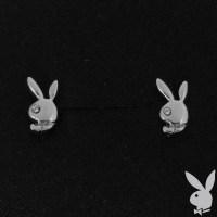 Playboy Earrings Small Bunny Logo Studs Swarovski Crystals