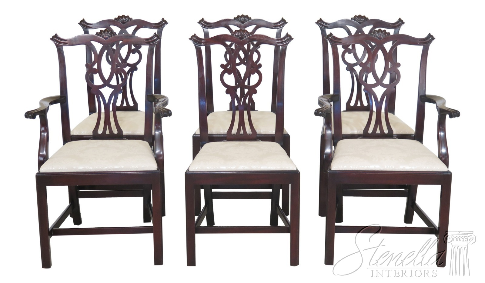 L47368EC Set Of 6 KITTINGER Chippendale Mahogany Dining