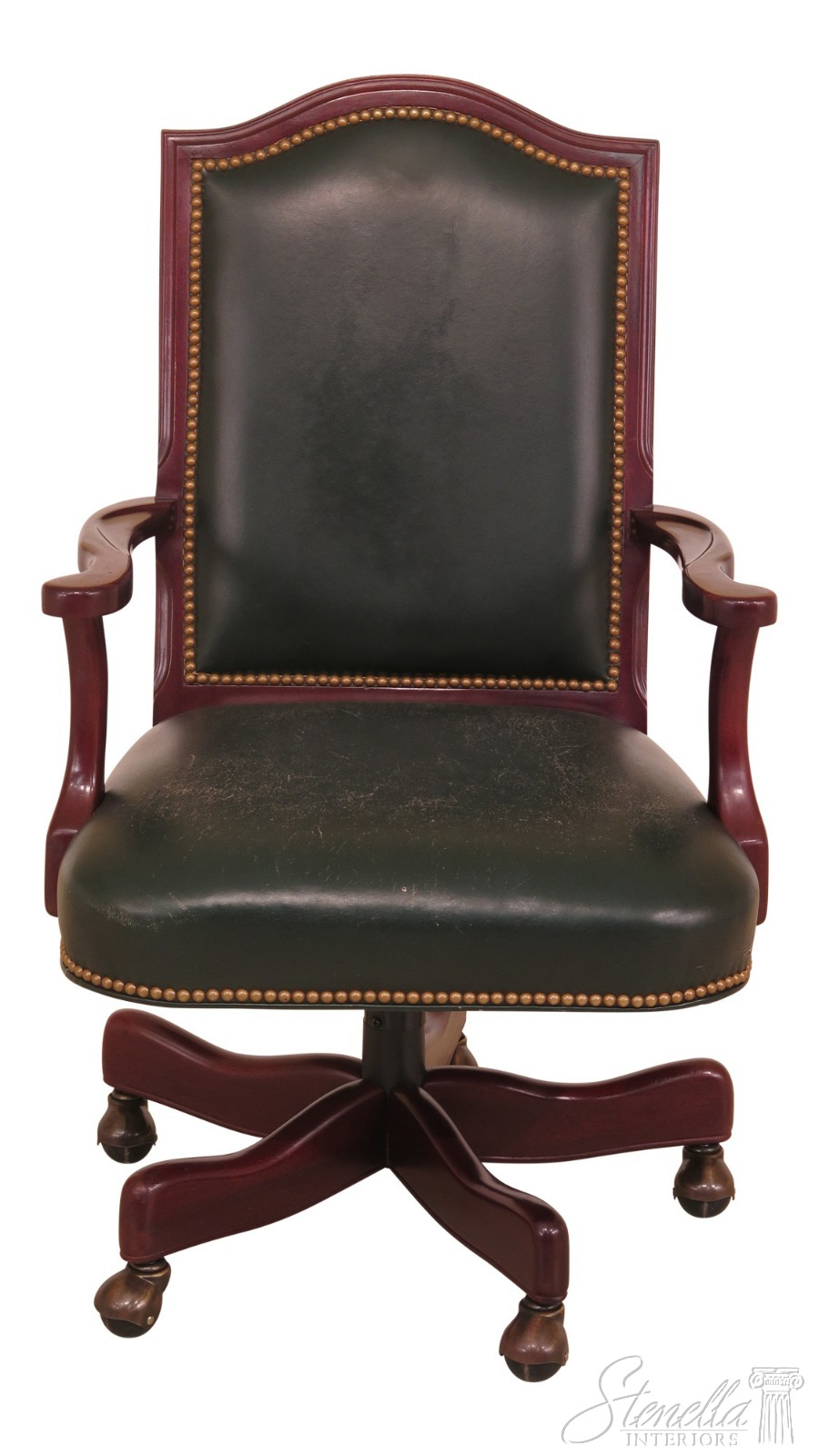 antique mahogany office chair cover rentals memphis f46273ec hancock moore green leather desk ebay details about