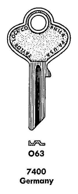 Vintage Auto Key Blank Taylor 063 (Ilco P61) for Denzel