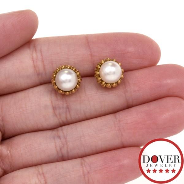 Tiffany & . Pearl 18k Yellow Gold Stud Earrings 5.3
