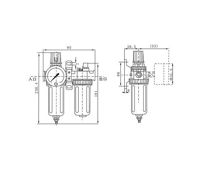New Pneumatic air filter regulator lubricator SFC-400