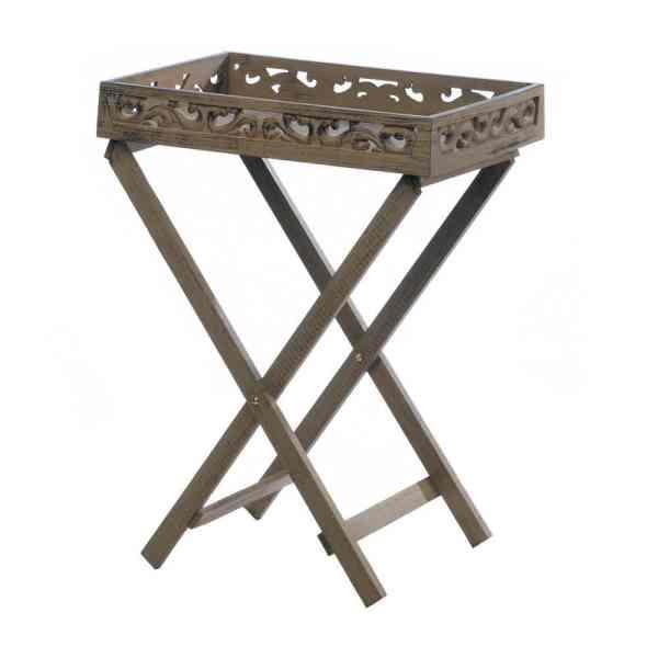 Estate Wooden Serving Tray Table Elegant Flourishes Decor 10016898