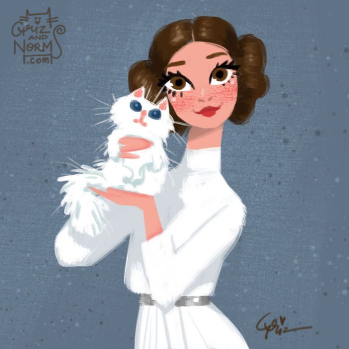 Princess Leia has a fluffy white cat 1