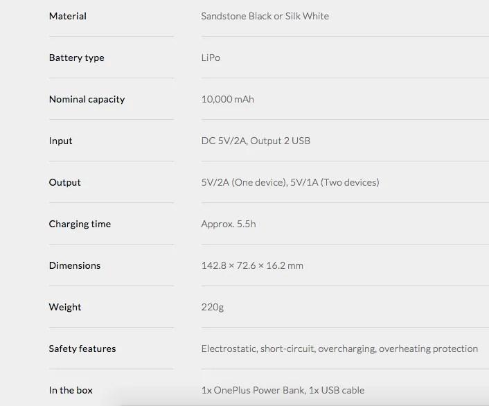 Power Bank para OnePlus 2