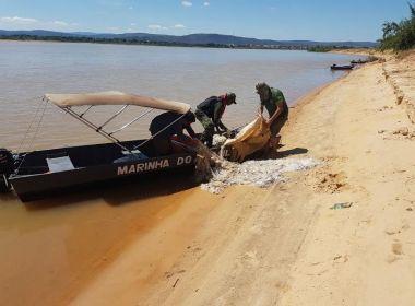Fiscais apreendem mais de 10,5 quilômetros de rede de pesca no oeste da Bahia