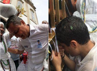 Entre abraços e fotos, Rui Costa e ACM Neto chegam à Colina Sagrada em campanha