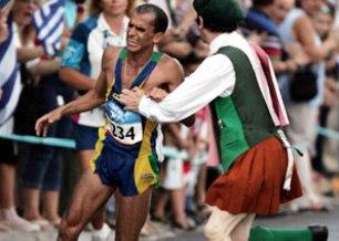 Vanderlei, durante a maratona das Olimpíadas de 2004 / foto: divulgação
