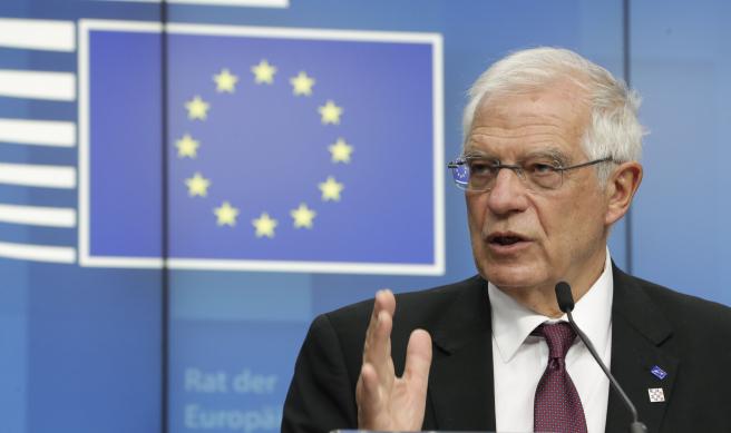 Josep Borrell en la rueda de prensa tras la reunión extraordinaria del Consejo de Ministros de Asuntos Exteriores de la UE sobre la escalada de tensión en Oriente Medio.