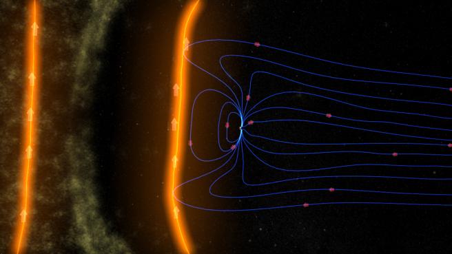 Una ilustración del campo magnético de la Tierra que protege nuestro planeta de las partículas solares.
