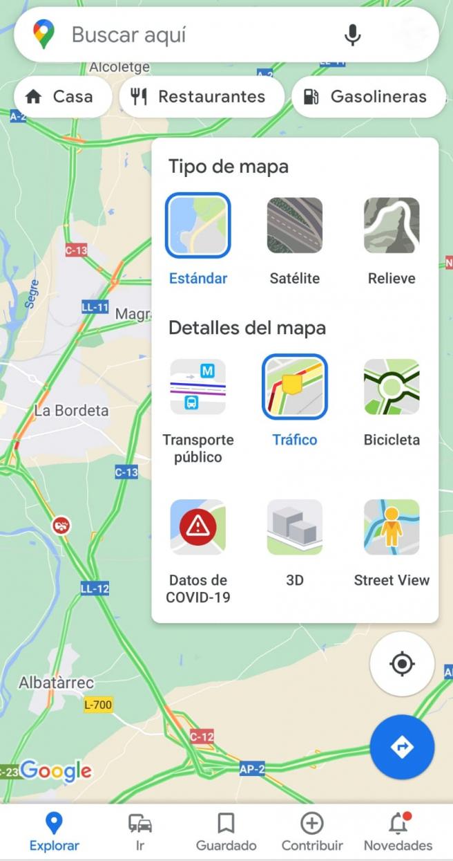 Google Maps permite que veas el tráfico en tiempo real.