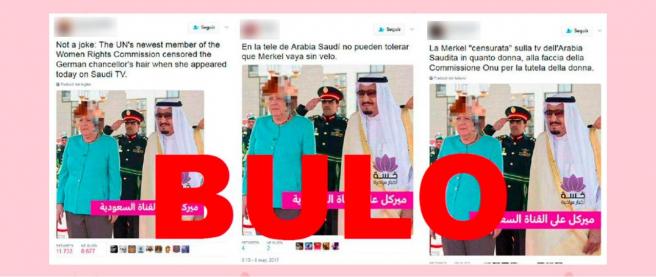 No, la televisión de Arabia Saudí no ha pixelado la cabeza de Merkel por no llevar velo