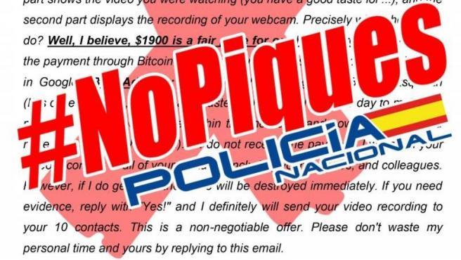 La Policía Nacional alerta de una campaña masiva de intentos de ciberestafa mediante 'sextorsión'.
