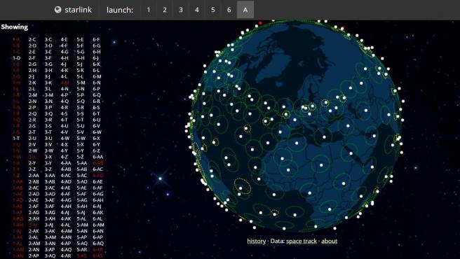 El mapa filtra los resultados por fecha, por lo que puedes ver todos los satélites o solo los de cada lanzamiento.
