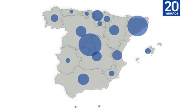 Mapa de España de coronavirus
