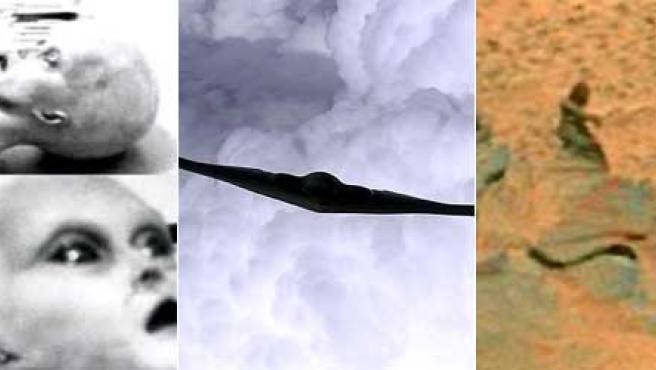 De izda a dcha: la autopsia al alienígena de Roswell, el bombardero estadounidense que provocó cientos de 'avistamientos' y el 'humanoide' de Marte.