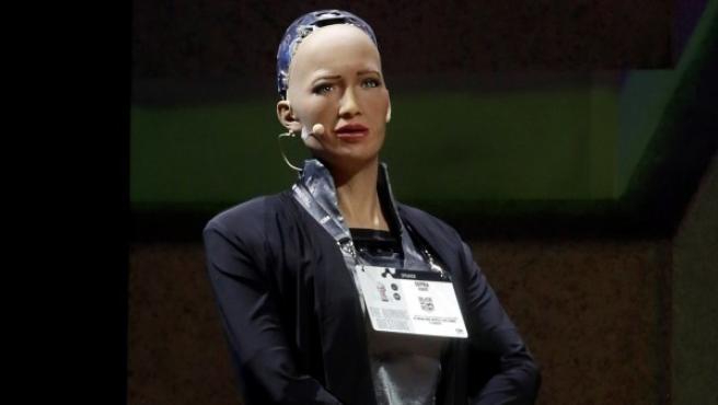 Sophia, el robot de la compañía Hanson Robotics es presentada durante el Festival Internacional de Mentes Brillantes, en Puebla (México).