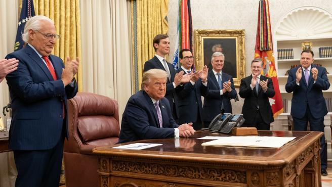 Donald Trump, presidente de EE UU, este jueves en la Casa Blanca.