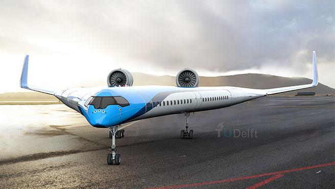 El avión tiene un espectacular diseño en forma de V