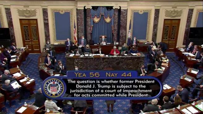La votación sobre la constitucionalidad del segundo 'impeachment' al expresidente Donald Trump, en el Senado de EE UU.