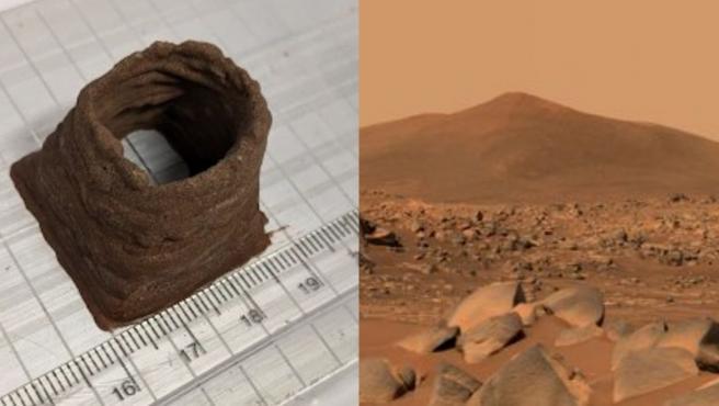 A la izquierda, una muestra del material que se plantea usar.