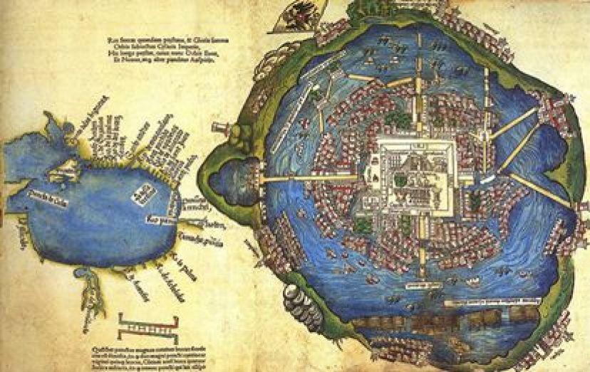 Plano de Tenochtitlán atribuido a Hernán Cortés (1524). Consta de dos cuerpos: una pequeña representación del golfo de México y la ciudad de Tenochtitlán, que aparece con el nombre de Temixtitan. / CENTRO DE ESTUDIOS DE HISTORIA DE MÉXICO CARSO. FUNDACIÓN CARLOS SLIM
