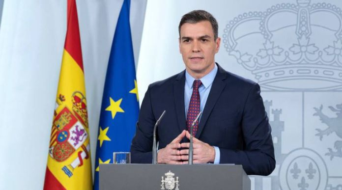 The Prime Minister, Pedro Sánchez, at his appearance on Thursday in La Moncloa.