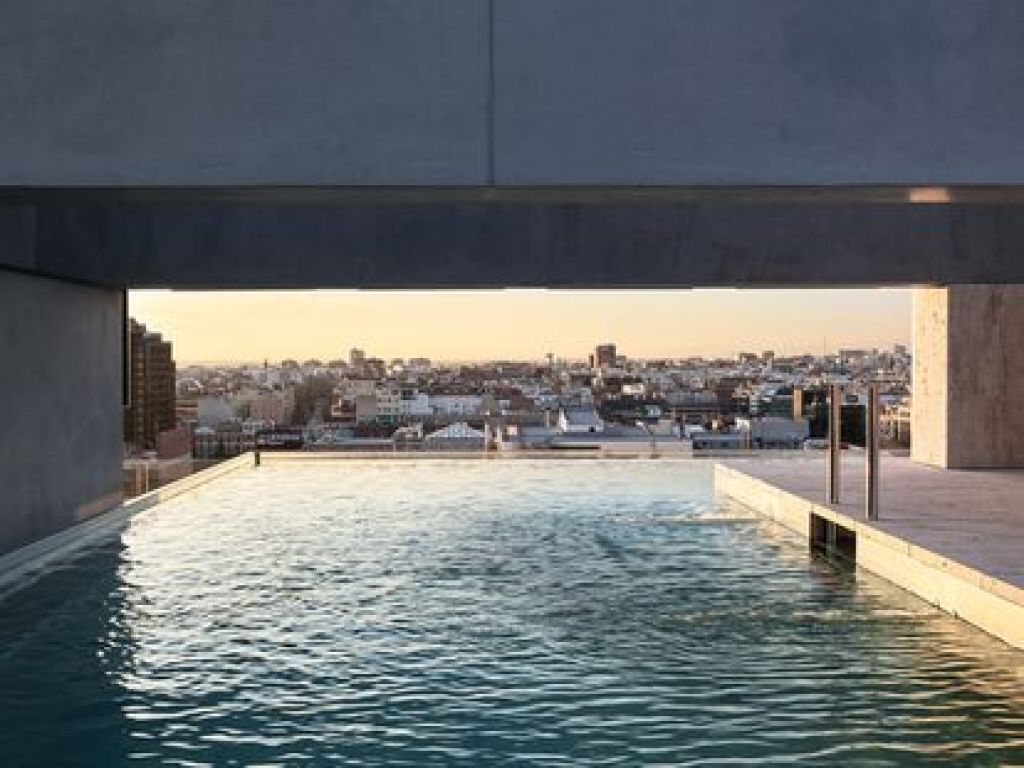 Outdoor swimming pool at Lagasca, 99, in Madrid.