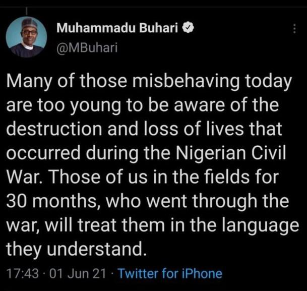 Tuit eliminado de Muhammadu Buhari, presidente de Nigeria