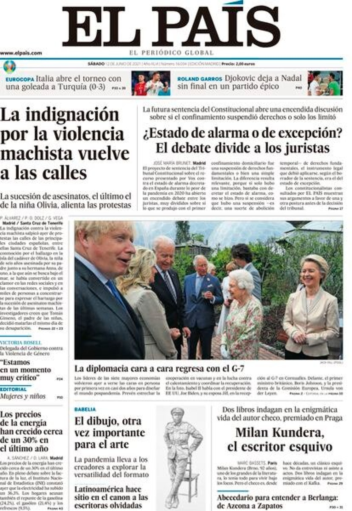 Cover of EL PAÍS from June 12, 2021.