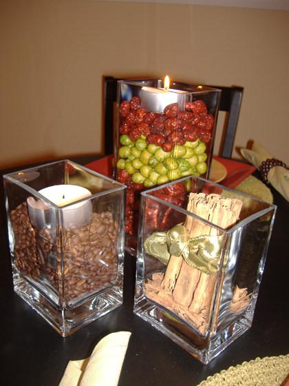 Centros de mesa con granos de caf  LaCelebracioncom