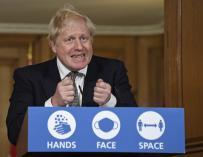 The Prime Minister of the United Kingdom, Boris Johnson, at a press conference.