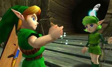 Saria, amiga de Link, le entrega su primera ocarina.