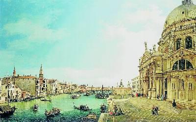Entrada al Gran Canal, vista Este, junto a la basílica Santa Maria della Salute, pintado por Canaletto en 1744.