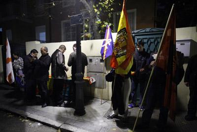 Un momento durante el homenaje a Franco de ayer en Madrid.