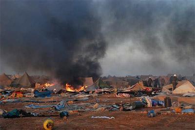 Imagen del estado en que quedó el campamento 'Dignidad' tras el asalto de las fuerzas de seguridad marroquíes. - AFP