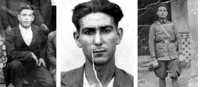 Honorio Molina Merino (c) 'El Comandante'; José Méndez Jaramago (i), conocido como el 'Manco de Agudo', y Reyes Saucedo Cuadrado 'El Parrala' (d).