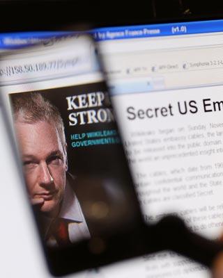 Imagen de Assange en su página web Wikileaks.