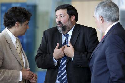 El líder de la UPF, Emilio Sánchez, Caamaño y el fiscal general, Conde-Pumpido. EFE
