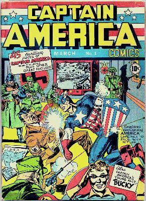 Marzo de 1941, primera portada del Capitán América', en la que sacude al Führer.