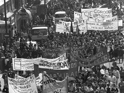 Imagen de una de las manifestaciones de profesores que agitaron los ochenta.-EFE