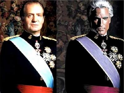 Imagen difundida por Internet de Magneto vestido como el rey Juan Carlos.