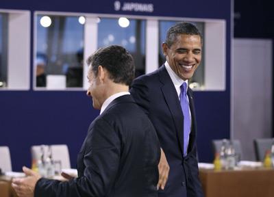 Sarkozy y Obama, durante la cumbre del G-20 en Cannes. -