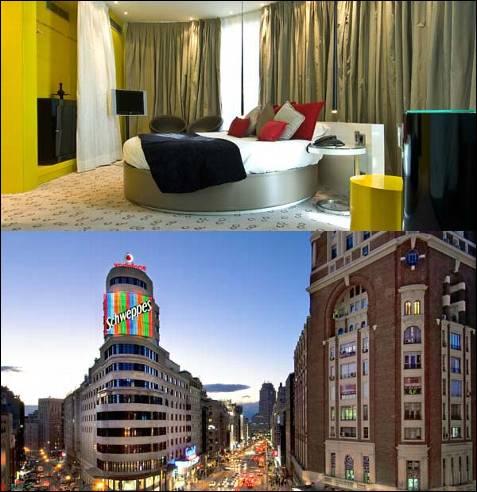 Poca gente sabe que justo tras la luminiscencia del mítico rótulo de la marca Schweppes en la Gran Vía madrileña, protagonista de la secuencia más famosa de la película 'El día de la bestia', hay dos habitaciones de hotel únicas, las del Vincci Capitol.