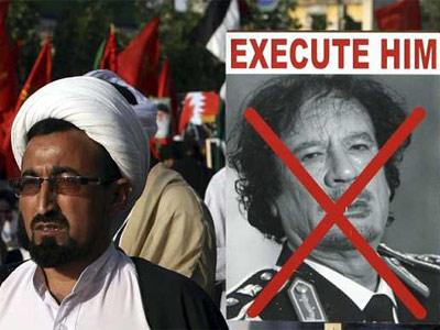 Seguidores del partido Majlis-e-Wahdatul se manifiestan contra el líder libio Muamar el Gadafi hace unos días. EFE
